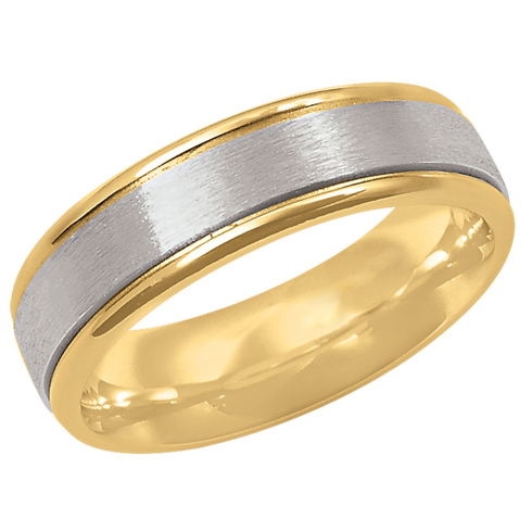 14kt Two-tone Gold 7mm Brushed Wedding Band