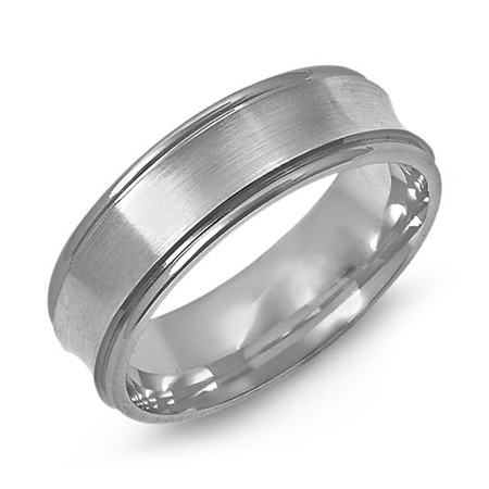 14kt White Gold 7mm Concave Wedding Band with Rounded Edges