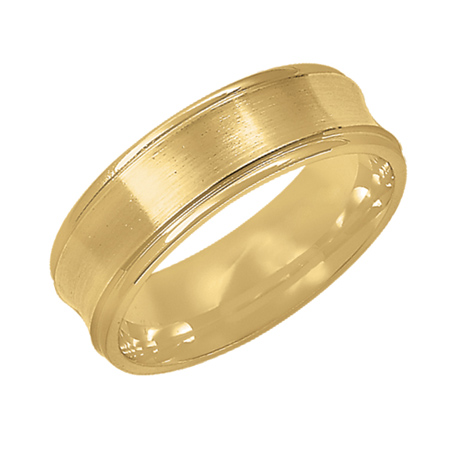 14kt Yellow Gold 7mm Concave Wedding Band with Rounded Edges