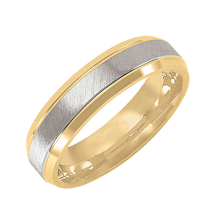 14kt Two-tone Gold 6mm Beveled Wedding Band with Brushed Finish
