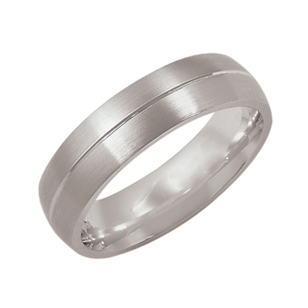 14kt White Gold 6mm Satin Wedding Band with Groove