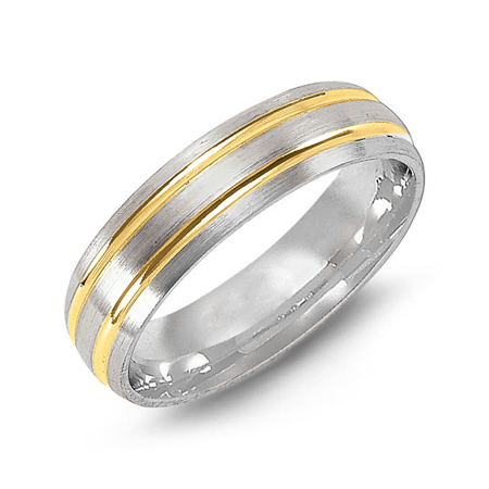 14kt Two-tone Gold 6mm Brushed Wedding Band with Grooves