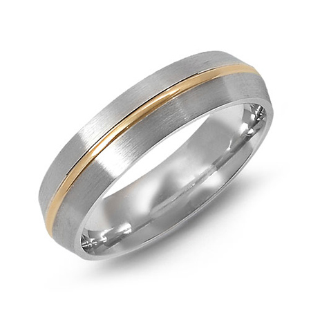 14kt Two-tone Gold 6mm Wedding Band with High Bevel