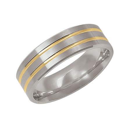 14kt Two-tone Gold 7mm Wedding Band with Grooves