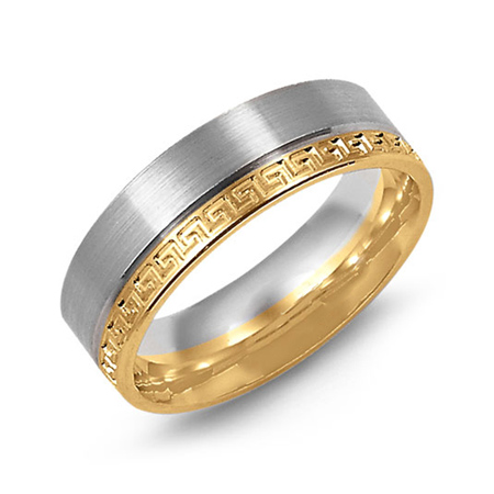 14kt Two-tone Gold 7mm Wedding Band with Greek Key Accents