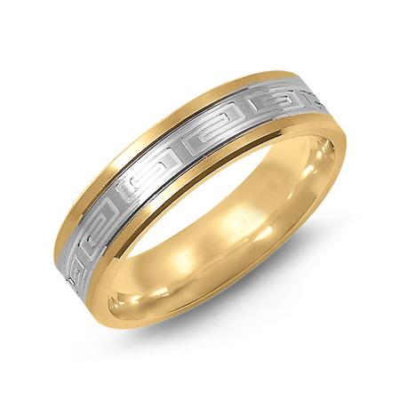 14kt Two-tone Gold 6mm Flat Greek Key Wedding Band