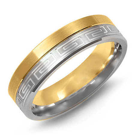 14kt Two-tone Gold 6mm Brushed Greek Key Wedding Band