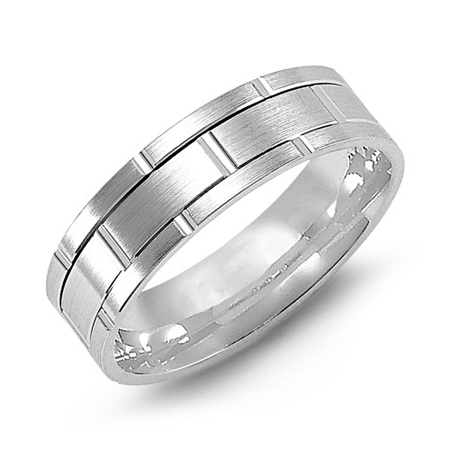 14kt White Gold 7mm Brushed Wedding Band with Rectangles