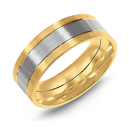 14kt Two-tone Gold 8mm Flat Satin Wedding Band
