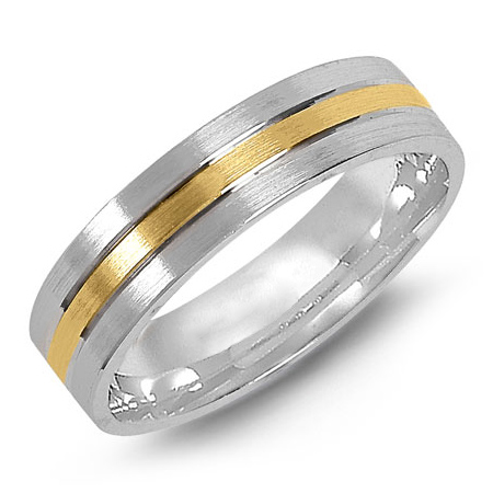 14kt Two-tone Gold 6mm Flat Satin Wedding Band