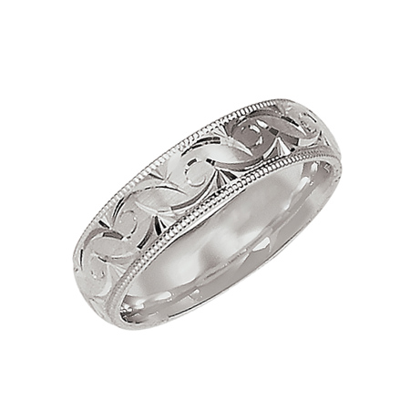 14kt White Gold 6mm Scroll Design Wedding Band with Milgrain