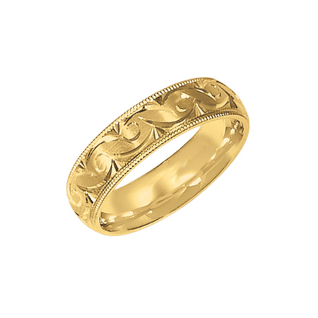 14kt Yellow Gold 6mm Scroll Design Wedding Band with Milgrain