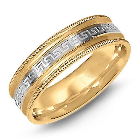 14kt Two-tone Gold 7mm Greek Key Milgrain Wedding Band