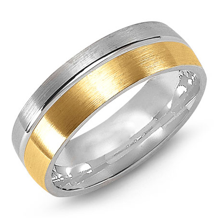 14kt Two-tone Gold 7mm Wedding Band with Offset Center