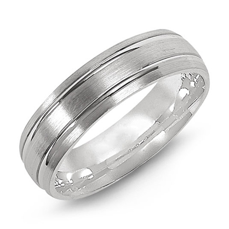 14kt White Gold 6mm Satin Wedding Band with Polished Grooves