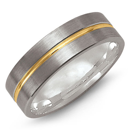 14kt Two-tone Gold 7mm Wedding Band with Polished Raised Center