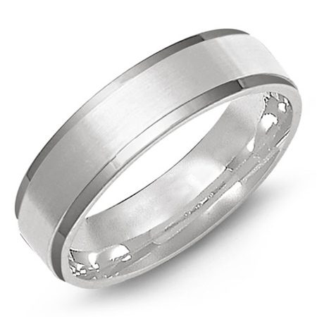 14kt White Gold 6mm Wedding Band with Satin Finish Center