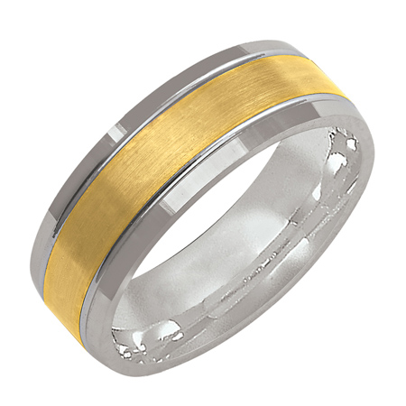 14kt Two-tone Gold 7mm Wedding Band