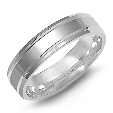 14kt White Gold 6mm Wedding Band with Step Down Edges
