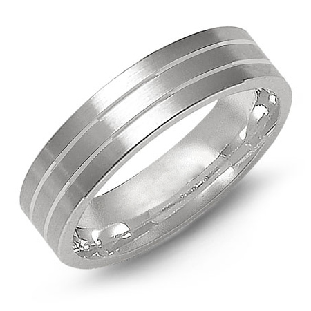14kt White Gold 6mm Flat Wedding Band with Grooves