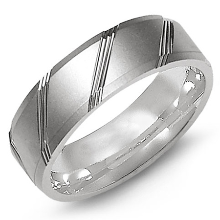 14kt White Gold 7mm Sandblast Wedding Band with Grooves