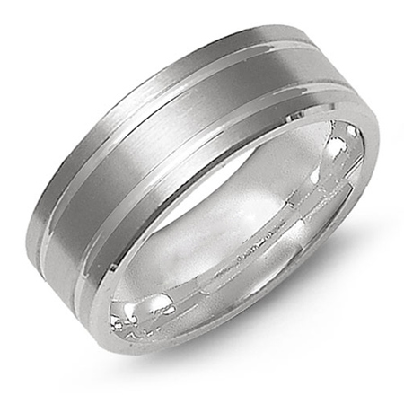 14kt White Gold 8mm Satin Wedding Band with Grooves