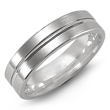 14kt White Gold 6mm Satin Wedding Band with Raised Center