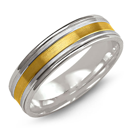 14kt Two-tone Gold 6mm Brushed Wedding Band with Rounded Edges