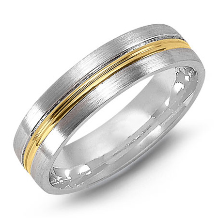 14kt Two-tone Gold 6mm Wedding Band with Raised Center