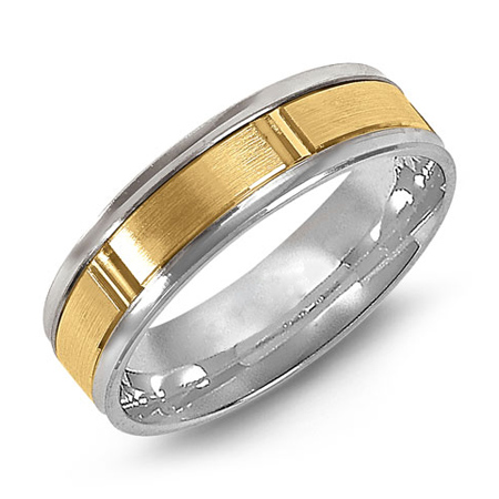 14kt Two-tone Gold 6mm Wedding Band with Satin Panels