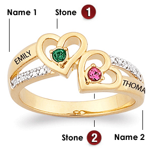 18kt Gold Over Sterling Silver Hearts Ablaze Promise Ring