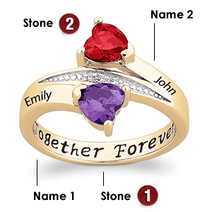 Hearts Together Gold-plated Sterling Silver Ring