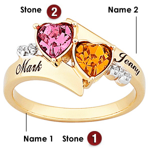 Hearts Duo 18kt Gold Over Sterling Silver Ring