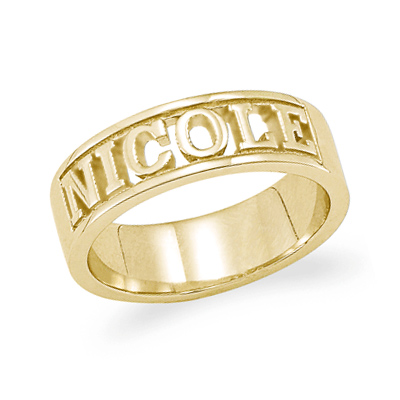 Gold Plated Sterling Silver Carved Name Ring