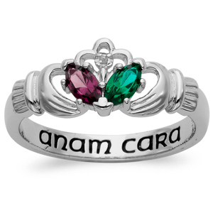 Sterling Silver Claddagh Anam Cara Promise Ring