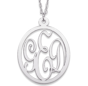 Sterling Silver 1 1/8in Oval Interlocking Monogram Necklace