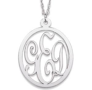 Sterling Silver 1 1/8in Oval Interlocking Monogram Necklace