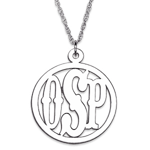 Sterling Silver 7/8in Circle Monogram Necklace