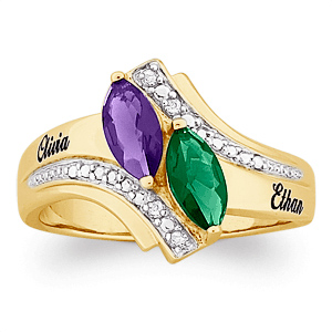 Marvelous Marquise 18kt Gold Over Sterling Silver Ring