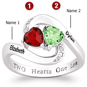 Two Hearts Sterling Silver Promise Ring
