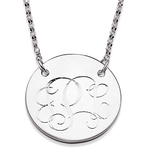 Sterling Silver 3/4in Round Monogram Necklace