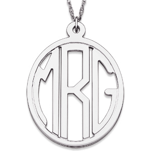 Sterling Silver 1 1/8in Oval Monogram Necklace