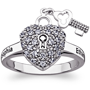 Key To My Heart Sterling Silver Promise Ring