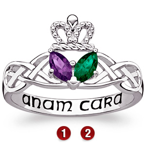 Sterling Silver Marquise Claddagh Promise Ring