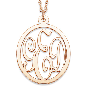 Gold-Plated Sterling Silver 1 1/8in Oval Interlocking Monogram Necklace