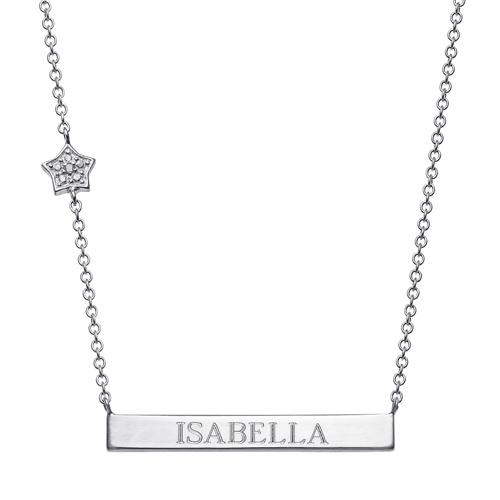 Sterling Silver Engravable Bar Necklace with Diamond Accented Star