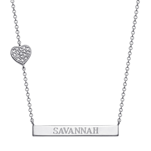Sterling Silver Engravable Bar Necklace with Diamond Accented Heart