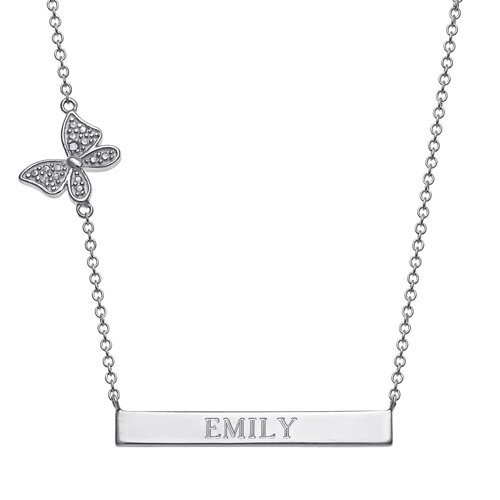 Sterling Silver Engravable Bar Necklace with Diamond Accented Butterfly