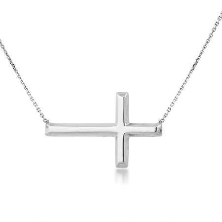 Sterling Silver 1in Sideways Cross Necklace with Adjustable Chain