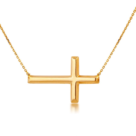14kt Yellow Gold 3/4in Sideways Cross Necklace with Adjustable Chain